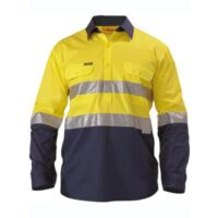 2 Tone Hi Vis Cool Lightweight Closed Front Shirt 3M Reflective Tape - Long Sleeve Thumbnail